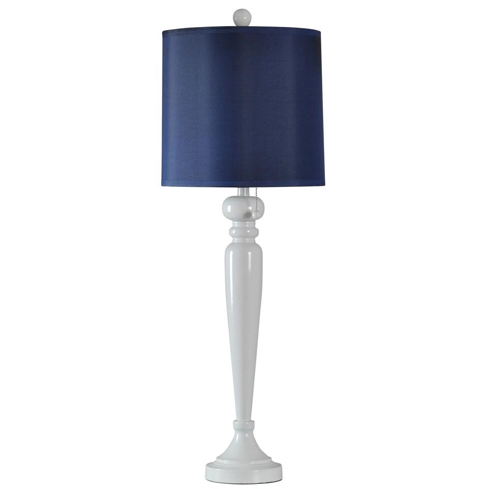 steel lamp base in halifax finish navy drum shade inside. Black Bedroom Furniture Sets. Home Design Ideas